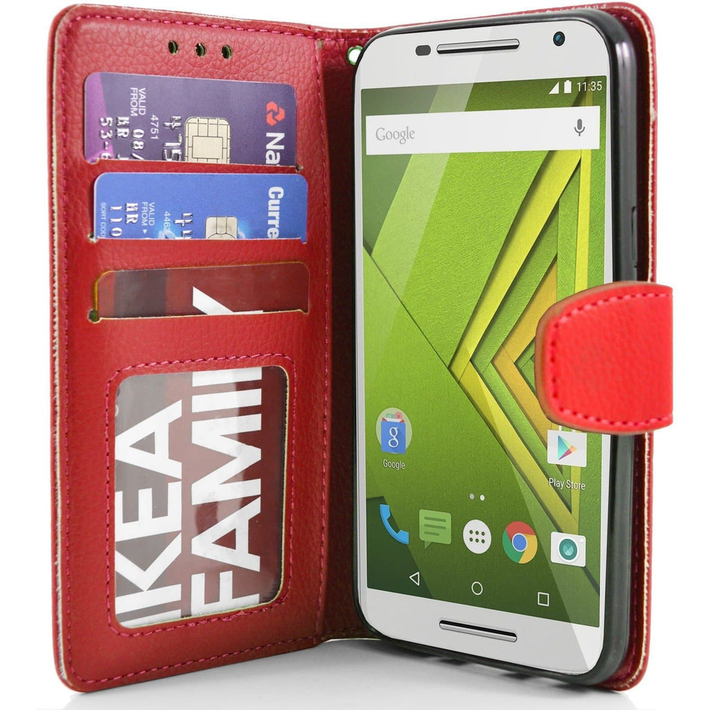 MOTO X Play PU Leather Wallet Case - Red
