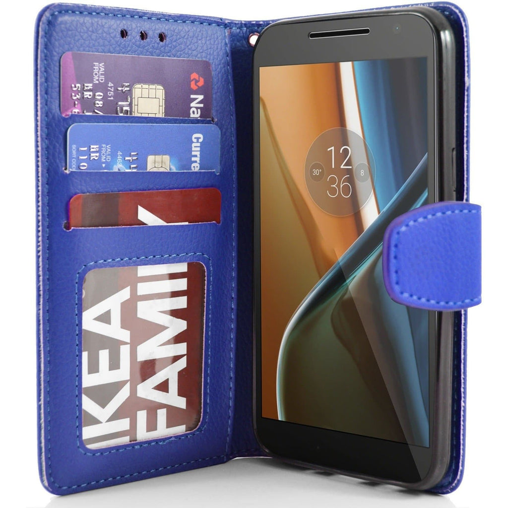 MOTO G4 PU Leather Wallet Case - Blue