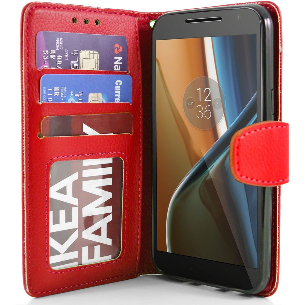 MOTO G4 PU Leather Wallet Case - Red