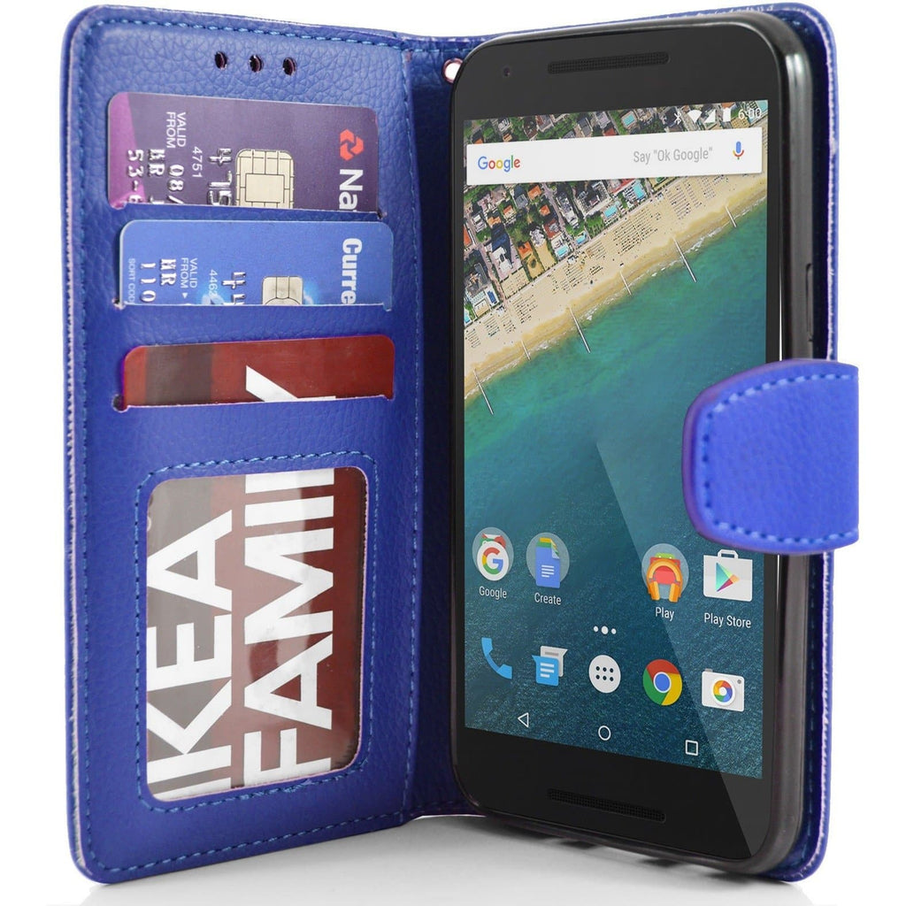 LG Nexus 5X PU Leather Wallet Case - Blue