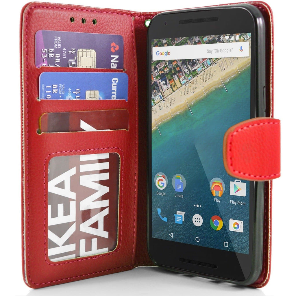 LG Nexus 5X PU Leather Wallet Case - Red