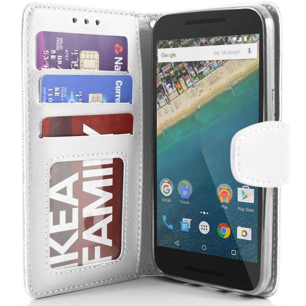 LG Nexus 5X PU Leather Wallet Case - White