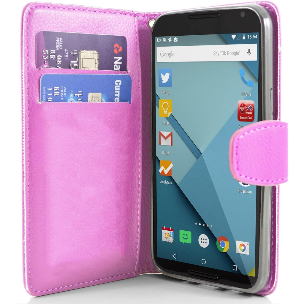 Motorola Nexus 6 PU Leather Wallet Case - Baby Pink