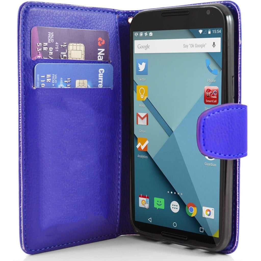 Motorola Nexus 6 PU Leather Wallet Case - Blue