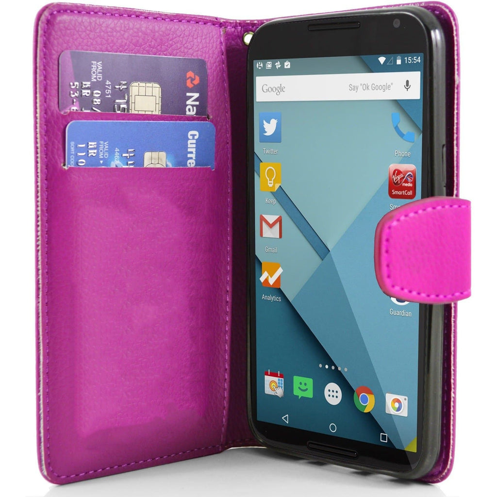 Motorola Nexus 6 PU Leather Wallet Case - Pink