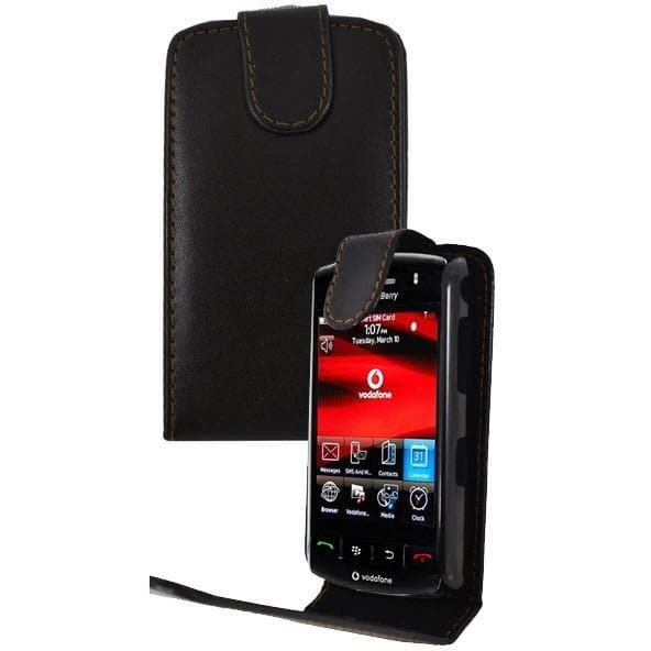Black BlackBerry Storm 9500 Flip PU Leather Case