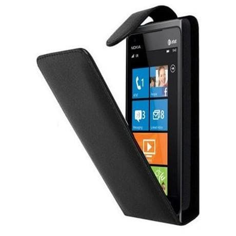 Black Flip Leather Case Cover Pouch For Nokia Lumia 900