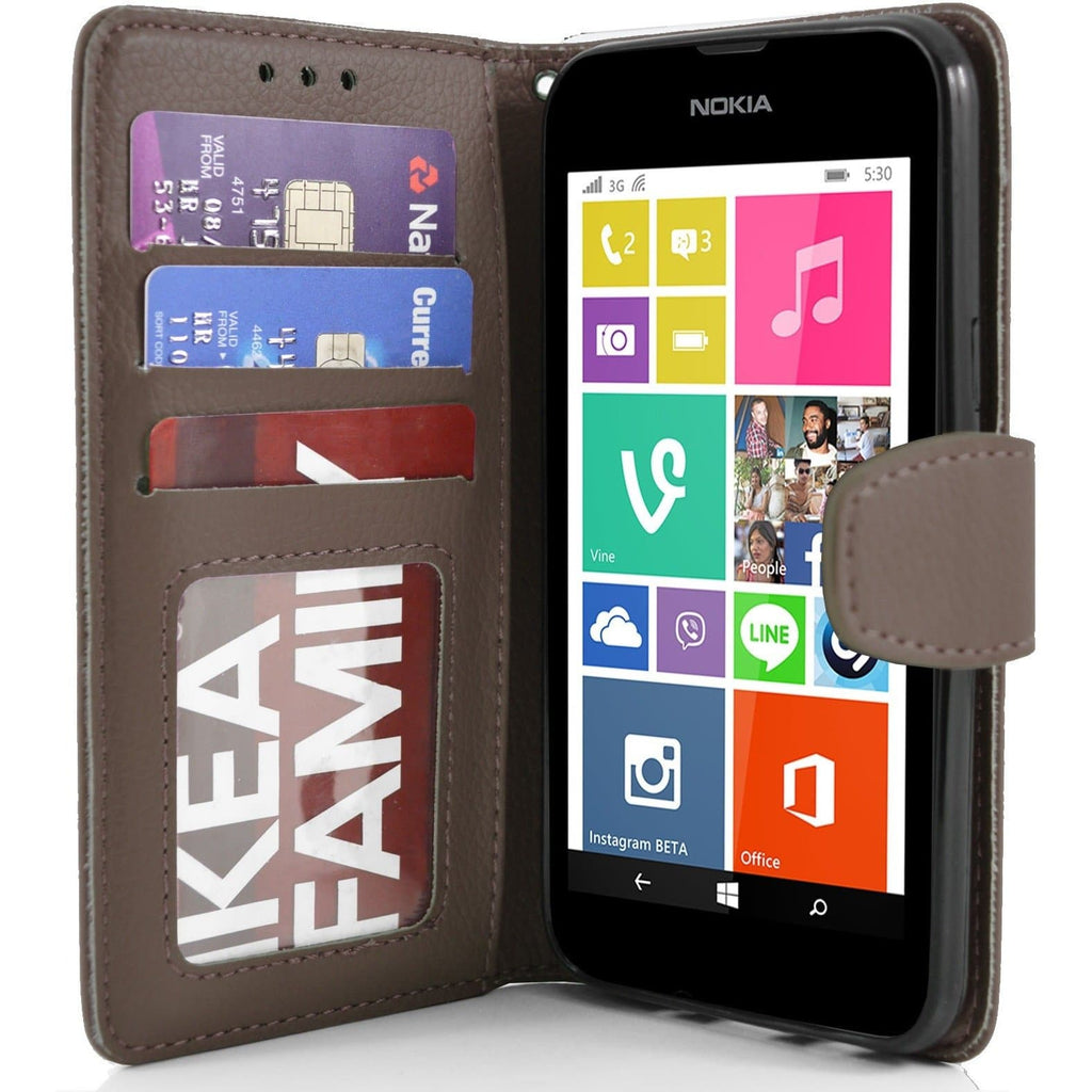 Nokia Lumia 530 PU Leather Wallet Case - Brown