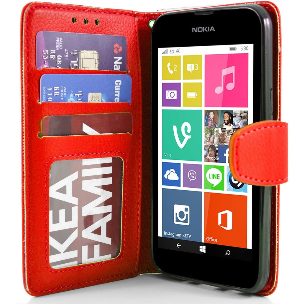 Nokia Lumia 530 PU Leather Wallet Case - Red