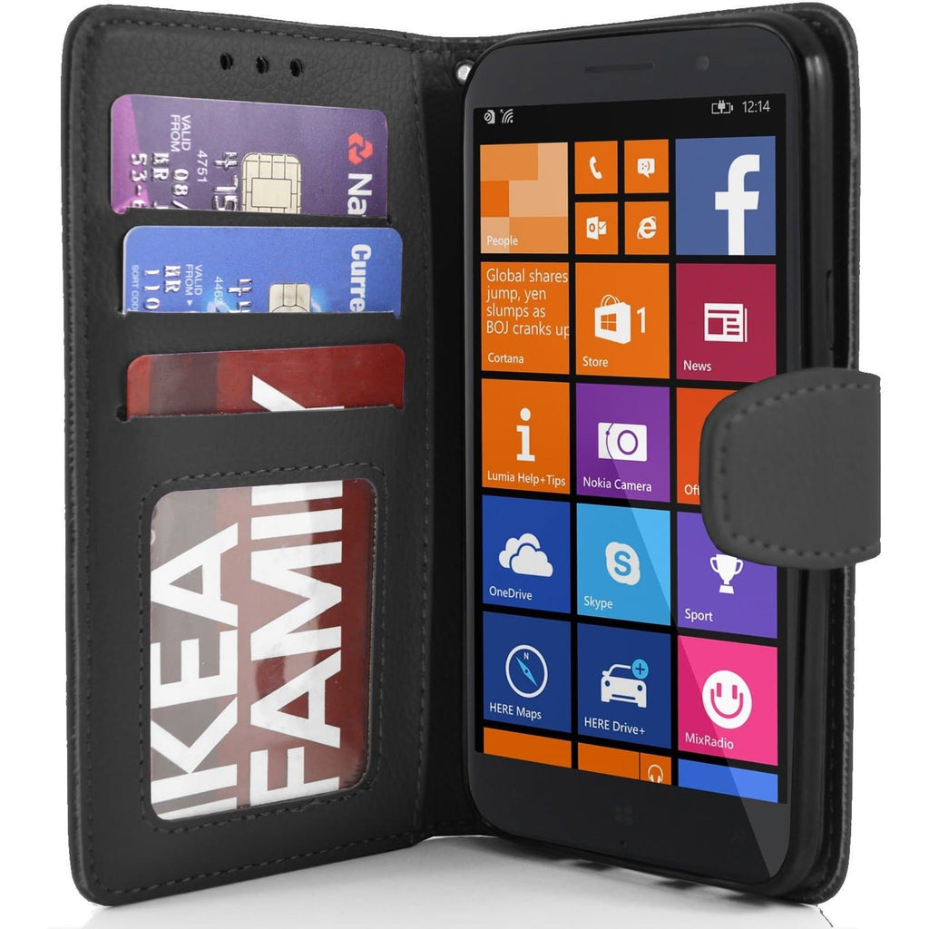 Black Nokia Lumia 830 PU Leather Wallet Case