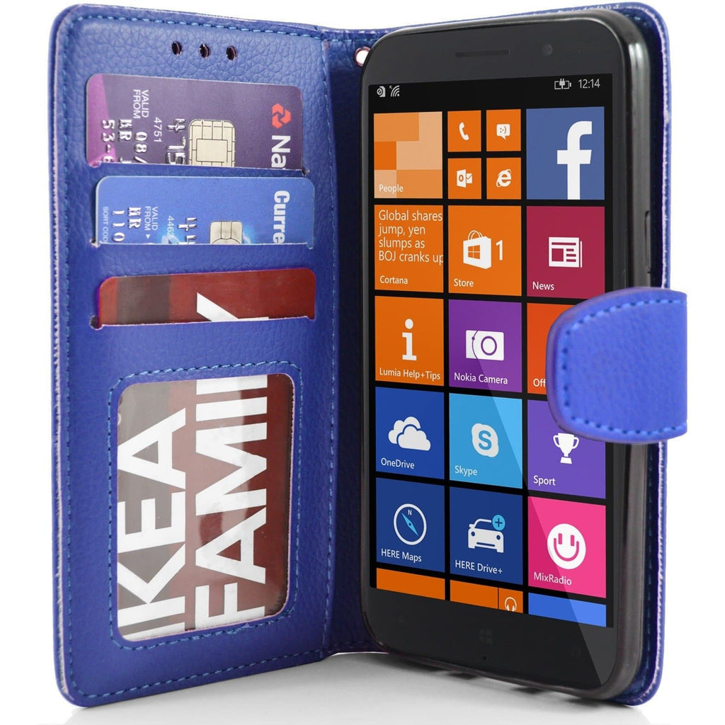 Blue Nokia Lumia 830 PU Leather Wallet Case