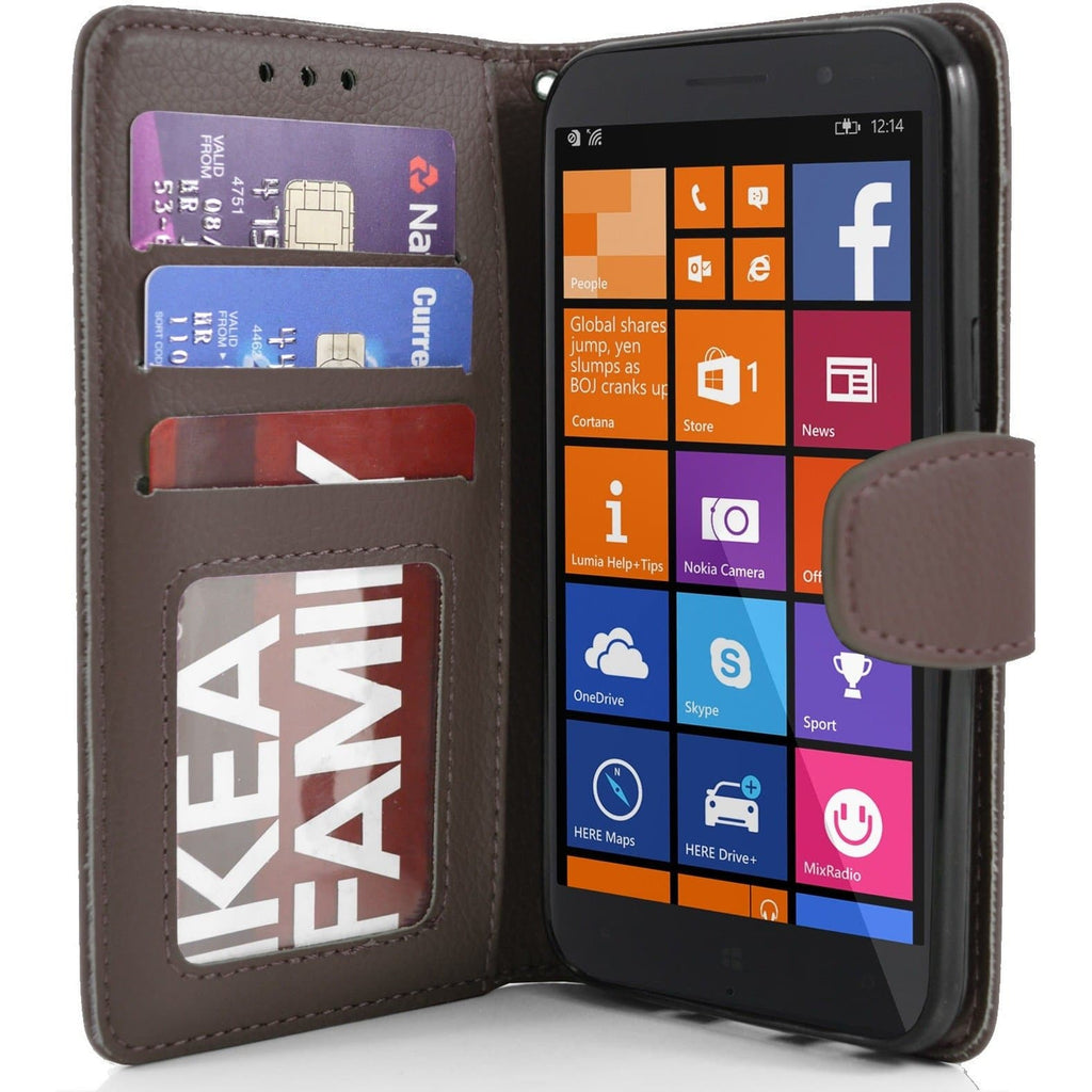 Brown Nokia Lumia 830 PU Leather Wallet Case