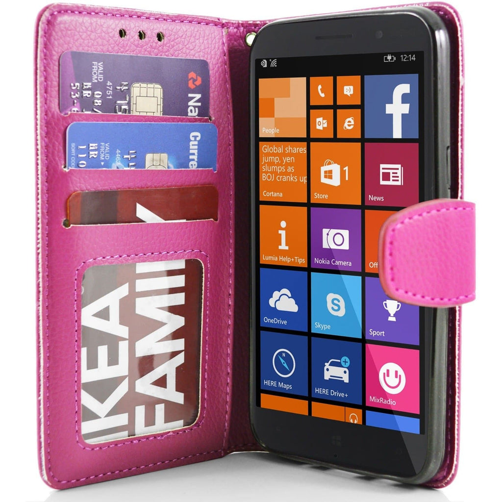 Pink Nokia Lumia 830 PU Leather Wallet Case