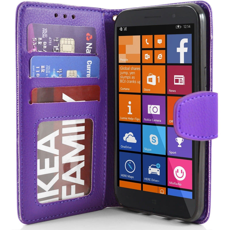 Purple Nokia Lumia 830 PU Leather Wallet Case