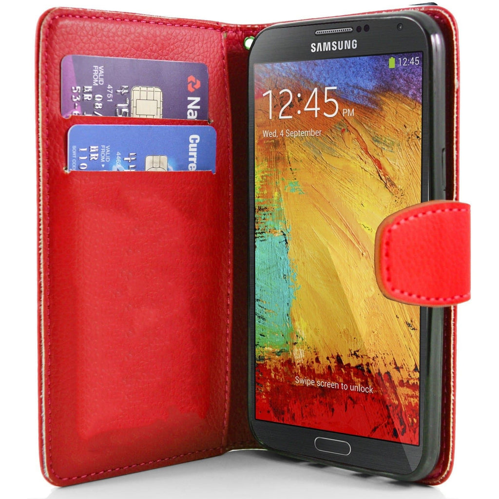 Samsung Note 3 N9000 PU Leather  Wallet Case Red