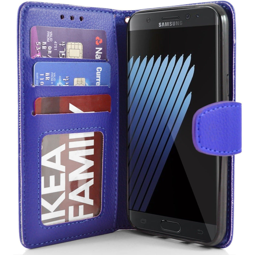 Samsung Galaxy Note 7 PU Leather Wallet Case - Blue