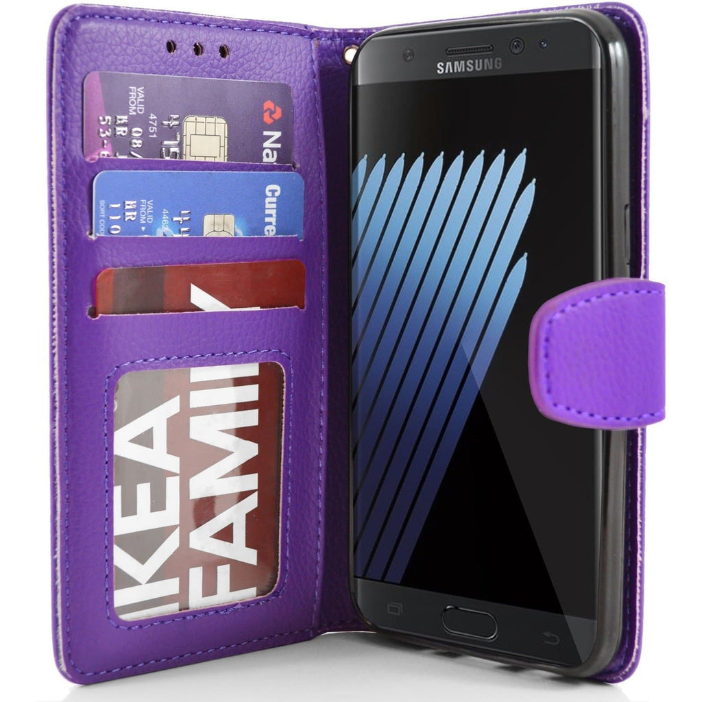 Samsung Galaxy Note 7 PU Leather Wallet Case - Purple
