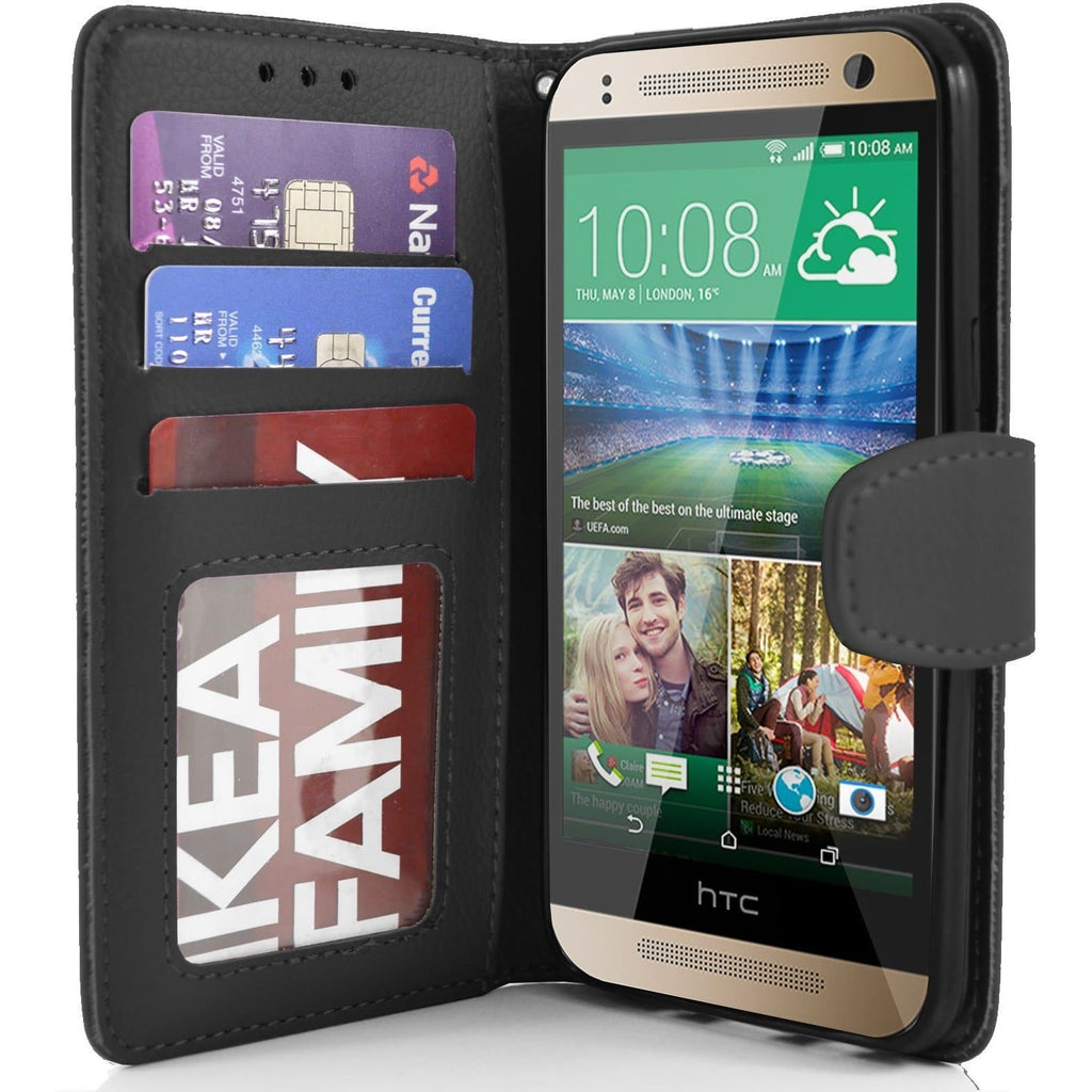 HTC One Mini 2 - PU Leather Wallet Case - Black