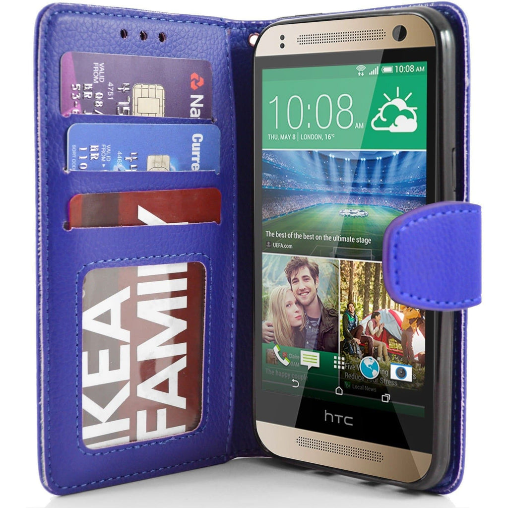 HTC One Mini 2 PU Leather Wallet Case - Blue