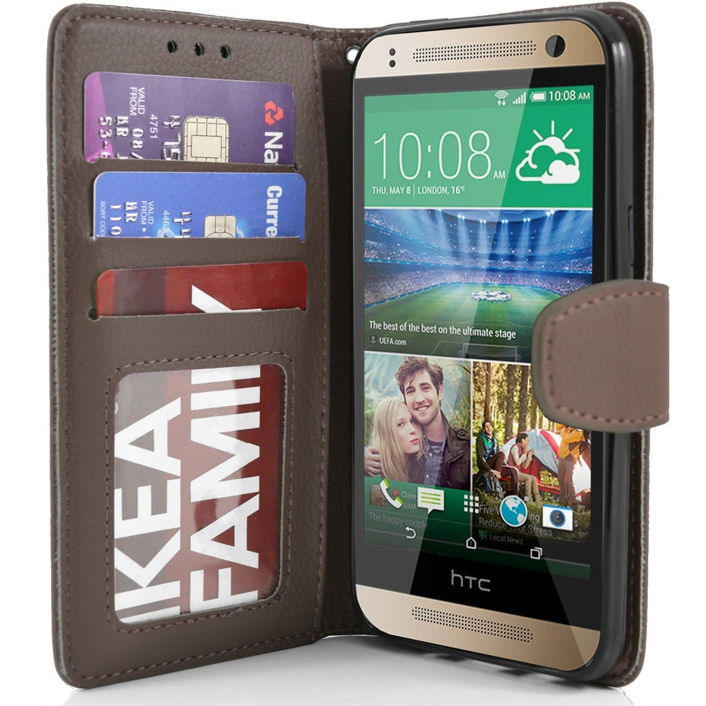 HTC One Mini 2 PU Leather Wallet Case - Brown