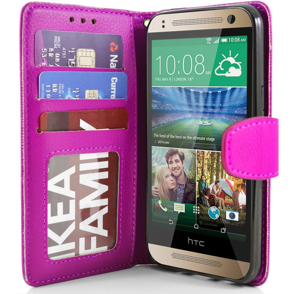 HTC One Mini 2 PU Leather Wallet Case - Pink