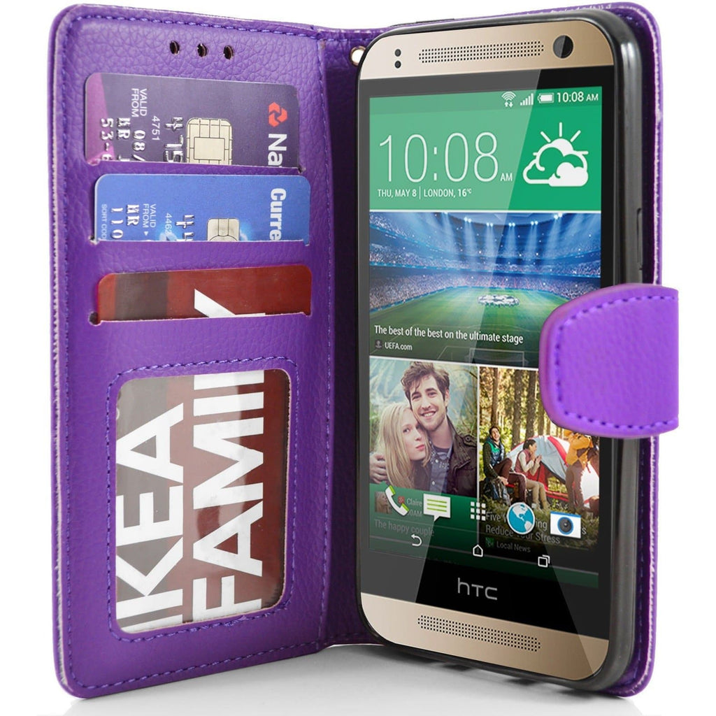 HTC One Mini 2 PU Leather Wallet Case - Purple