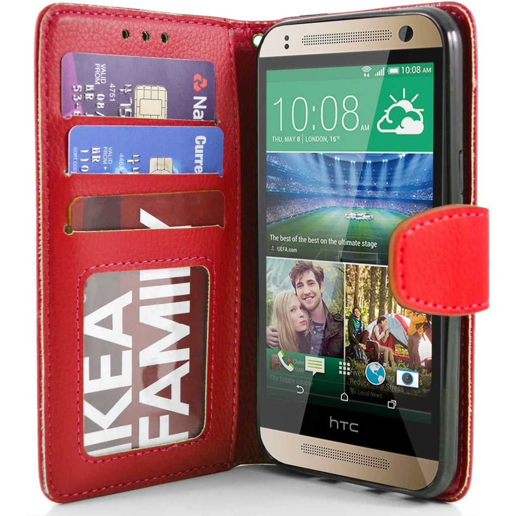 HTC One Mini 2 PU Leather Wallet Case - Red