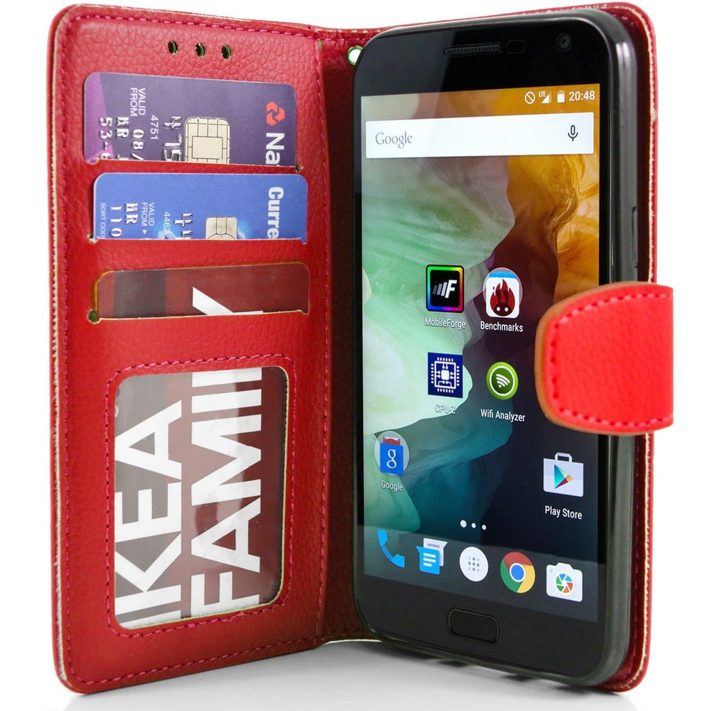 OnePlus 2 PU Leather Wallet Case - Red