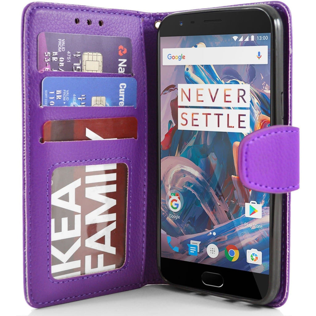 OnePlus 3 PU Leather Wallet Case - Purple