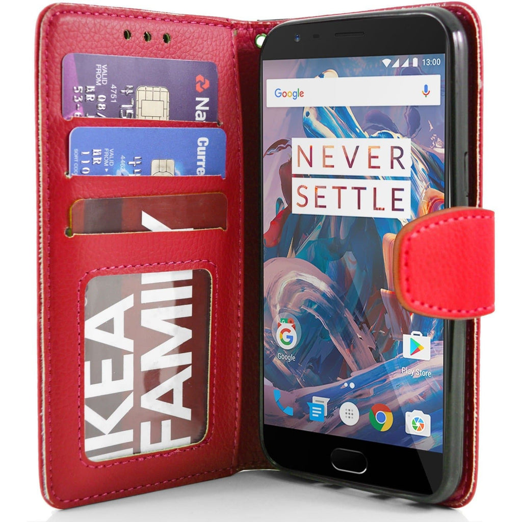 OnePlus 3 PU Leather Wallet Case - Red