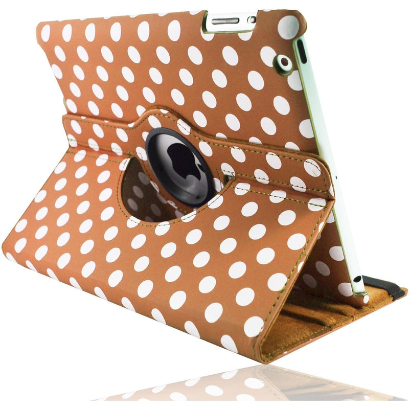 Apple iPad Mini 1 2 3 - Polka Dot Pu Leather Book Flip Stand Case - Orange