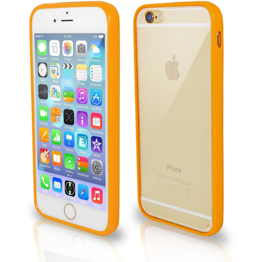 iPhone 7- Bumper Clear Back Silicone Case - Orange