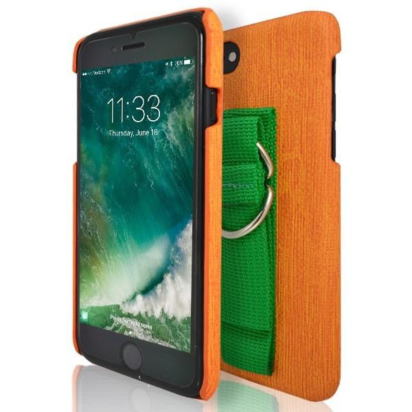 iPhone 7 Case- Protective Silicone With Rear Hand Strap Orange