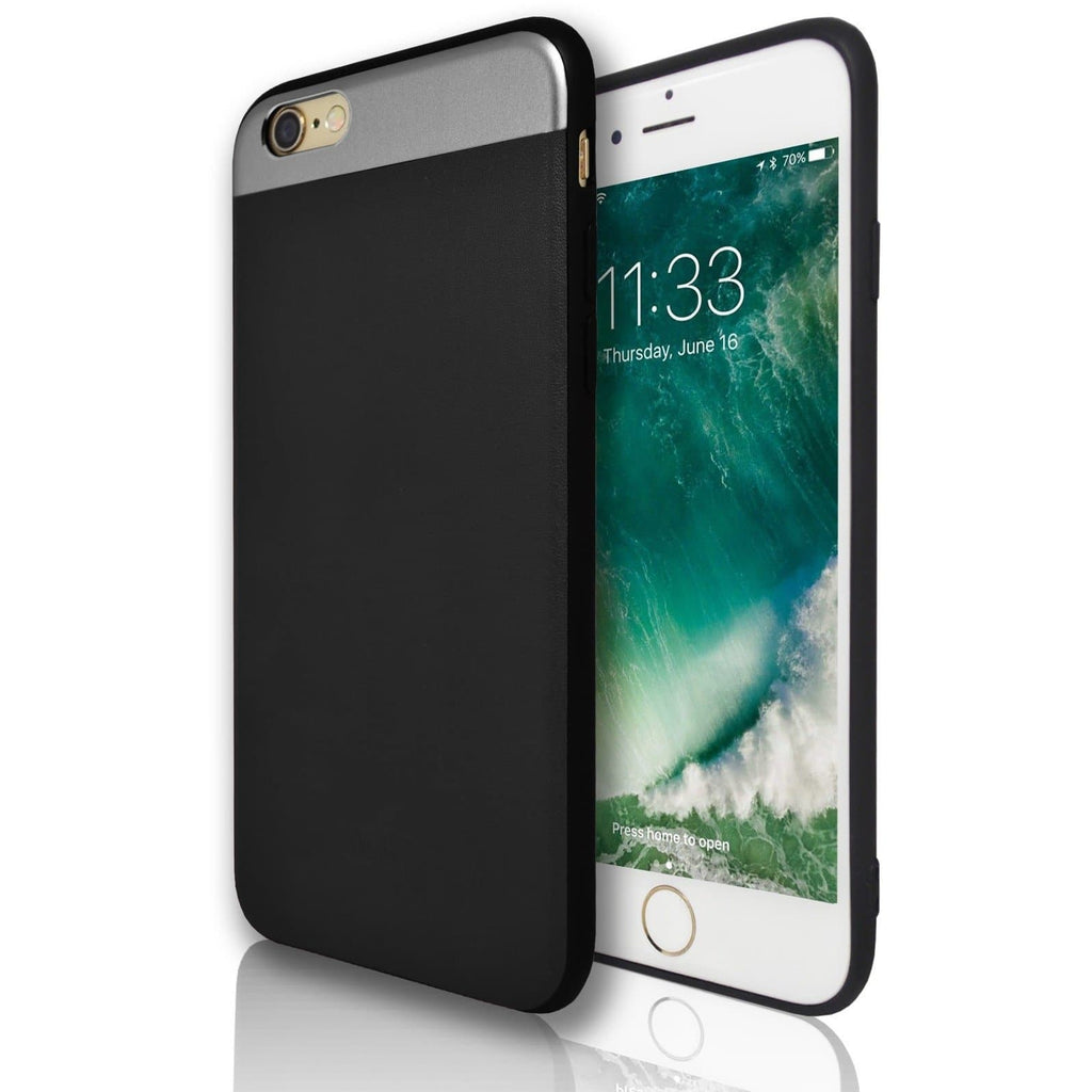 iPhone 6 / 6S Plus Protective Mirror Top & Black Leather Feel Case