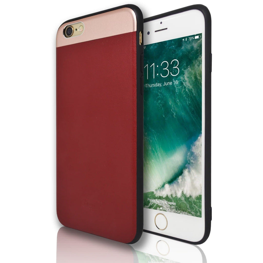iPhone 6 / 6S Plus Protective Mirror Top & Red Leather Feel Case