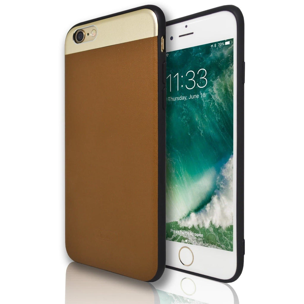 iPhone 6 / 6S Plus Protective Mirror Top & Brown Leather Feel Case