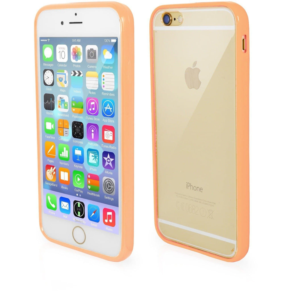 iPhone 7- Bumper Clear Back Silicone Case - Peach