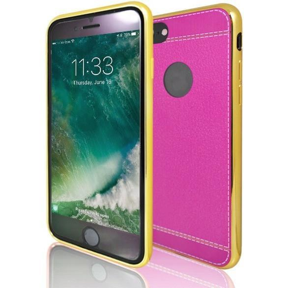iPhone 8 Plus- Protective Leather Look Silicone Case With Bumper- Yellow And Pink