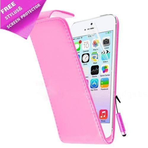 iPhone 5 / 5S / SE - Luxury Ultra Slim Magnetic Leather Flip Case Stand - Pink