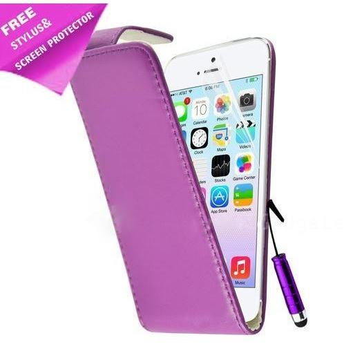 iPhone 5 / 5S / SE - Luxury Ultra Slim Magnetic Leather Flip Case Stand - Purple