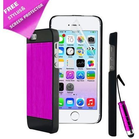 iPhone 5 / 5S / SE - Luxury Hard Metal Brushed Aluminium Case Hybrid - Pink / Black