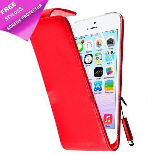iPhone 5 / 5S / SE - Luxury Ultra Slim Magnetic Leather Flip Case Stand - Red