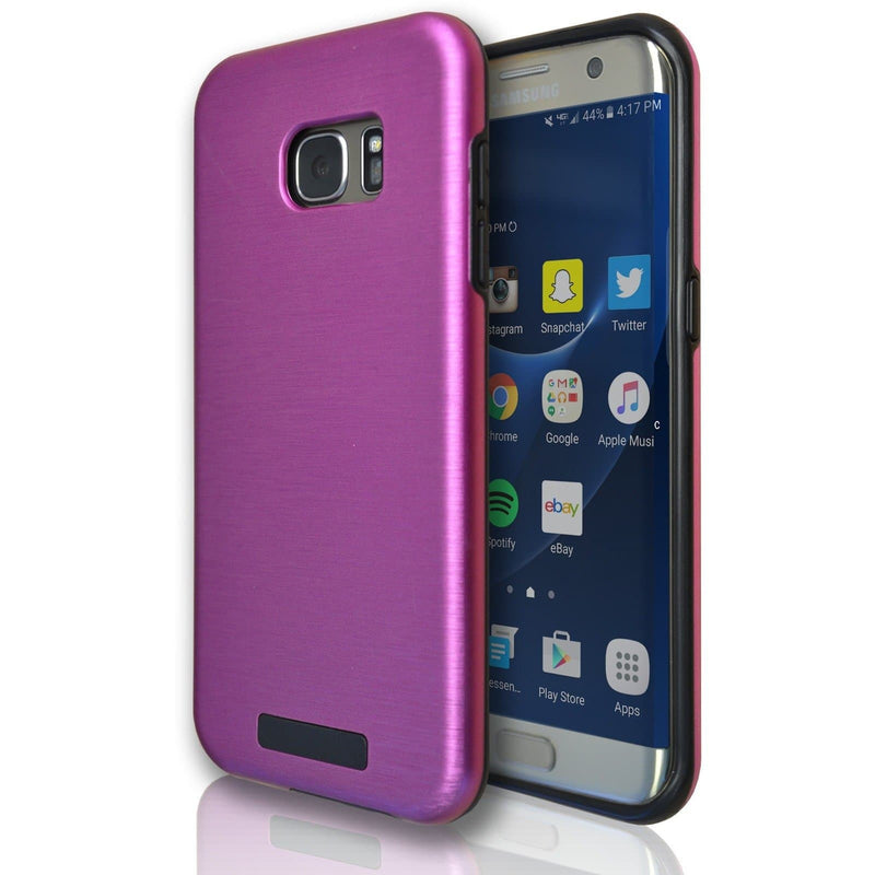Samsung Galaxy S7 Edge Protective Brushed Silicone Case - Pink