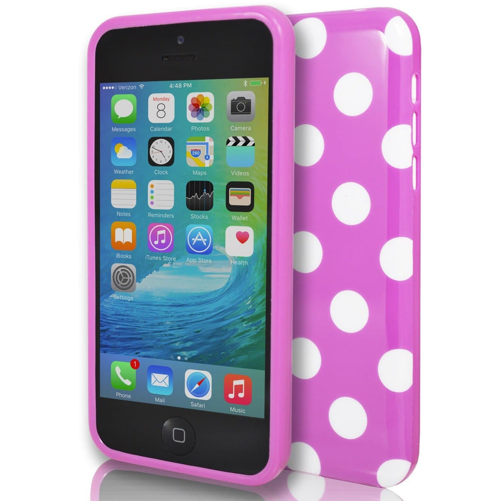 iPhone 5/5S/SE - Pink Polka Dot Gel Silicone Case