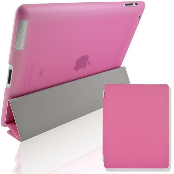 iPad 2 / 3 / 4 - Magnetic Slim Flip Cover & Hard Back Stand - Pink