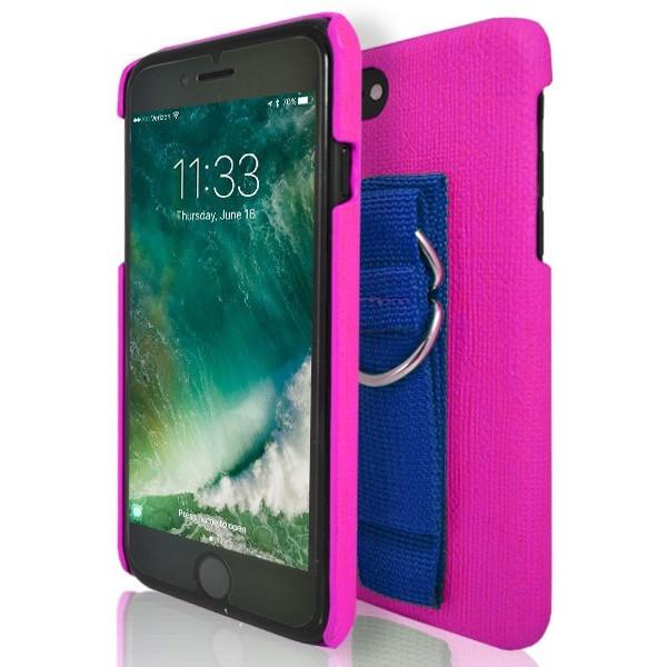 iPhone 7 Case- Protective Silicone With Rear Hand Strap Pink