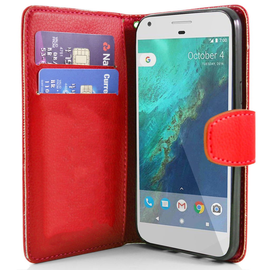 Google Pixel Red Pu Flip Wallet Leather Case