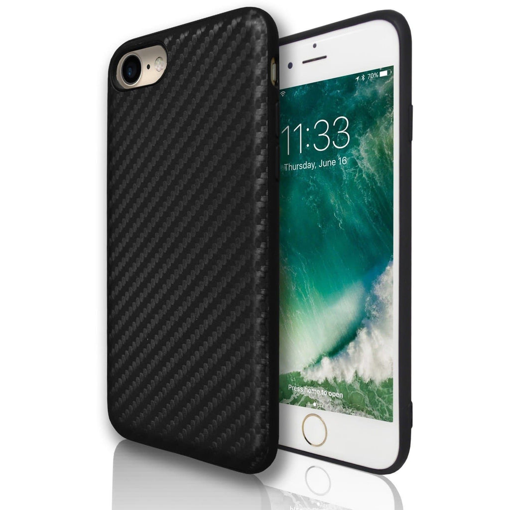 Apple iPhone 7 Carbon Protective Silicone Case - Black