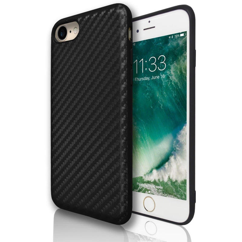 Apple iPhone 7 Plus Carbon Protective Silicone Case - Black