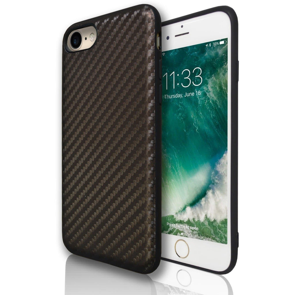 Apple iPhone 7 Carbon Protective Silicone Case - Brown